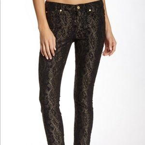 7 For All Mankind Black and Gold Snakeskin Jeans